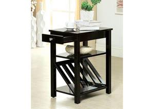 Cortz l Black Magazine Rack w/Drawer & Open Shelf,Furniture of America