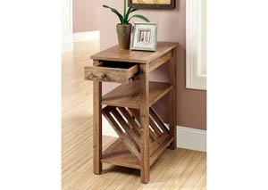 Cortz l Rustic Oak Magazine Rack w/Drawer & Open Shelf,Furniture of America