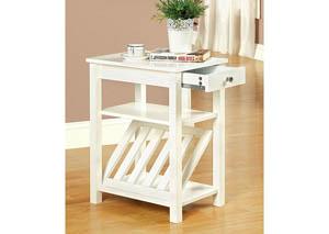 Cortz l White Magazine Rack w/Drawer & Open Shelf,Furniture of America
