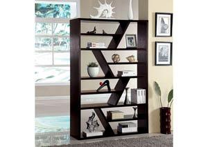 Kamloo Espresso Zig-Zag Display Case,Furniture of America