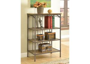 Wylde IV Curved Metal & Natural Wood 4-Tier Book Shelf,Furniture of America
