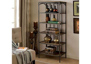 Wylde V Curved Metal 6-Tier Book Shelf,Furniture of America