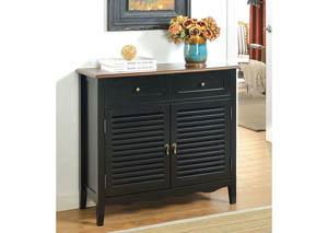 Oleida Black Louver Design 2 Door & 2 Shelf Cabinet,Furniture of America