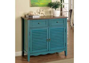 Oleida Blue Louver Design 2 Door & 2 Shelf Cabinet,Furniture of America