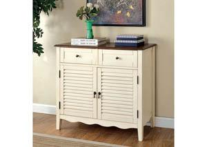 Oleida White Louver Design 2 Door & 2 Shelves Cabinet,Furniture of America