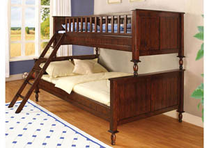 Radcliff Brown Cherry Twin/Full Bunk Bed,Furniture of America