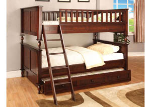Radcliff Brown Cherry Twin/Twin Bunk Bunk Bed,Furniture of America