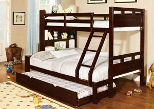 Fairfield Espresso Full Bunk Bed w/Book Shelf & Trundle,Furniture of America
