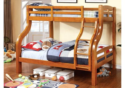 Solpine Oak Twin/Full Bunk Bed,Furniture of America
