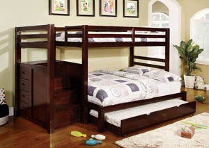 Pine Ridge Full Bunk Bed w/Steps & Drawers,Furniture of America
