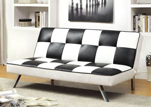 Alquerque Black and White Checker Leatherette Futon Sofa,Furniture of America
