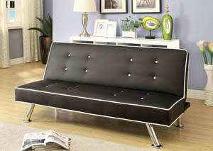 Verdis White and Black Futon Sofa,Furniture of America