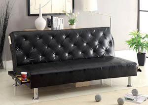 Farel Black Leatherette Futon Sofa,Furniture of America