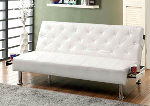 Farel White Leatherette Futon Sofa,Furniture of America