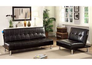 Bulle Black Leatherette Futon Sofa,Furniture of America