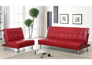 Bulle Red Leatherette Futon Sofa,Furniture of America