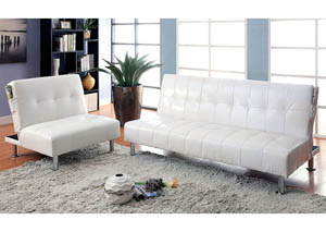 Bulle Gray Leatherette Futon Sofa,Furniture of America