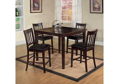 Northvalle ll Espresso 5 Piece Counter Height Table Set,Furniture of America