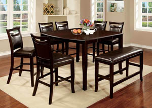 Woodside II Espresso Counter Height Table w/Bench and 6 Counter Height Chairs,Furniture of America
