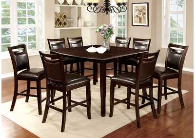 Woodside II Espresso Counter Height Table w/8 Counter Height Chairs,Furniture of America