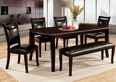 Woodside Dark Cherry Extension Leaf Dining w/4 Side Chairs & Bench,Furniture of America