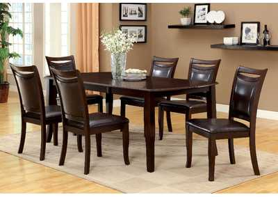 Woodside Dark Cherry Extension Leaf Dining Table w/6 Side Chairs,Furniture of America