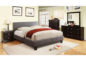 Winn Park Gray Upholstered Queen Platform Bed,Furniture of America