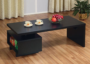 Black Open-Cabinet Coffee Table