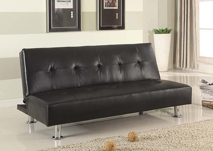 Roses Flooring And Furniture Black Pu Clik Clak Futon Sofa