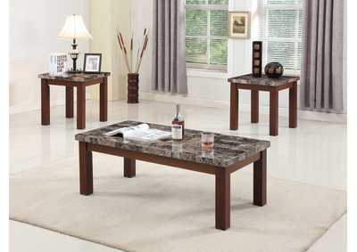 3Pc Dark Print Marble Top Coffee & End Table Set