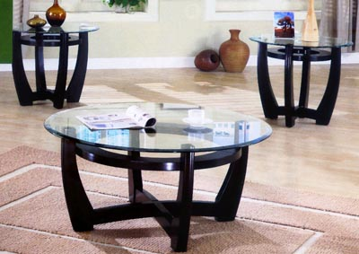 3Pc Glass Top Coffee & End Table Set