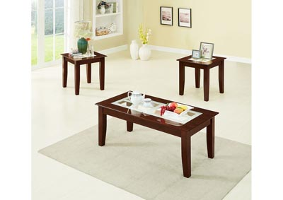 3Pc Dark Cherry Table Set W/ Frosted Glass Inserts