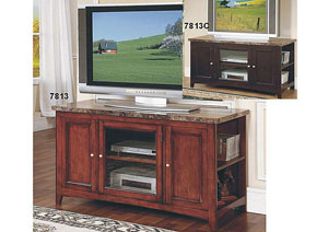Cherry Artificial Marble Top TV Stand 62''