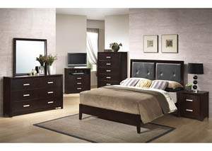 Cappuccino Queen Bed, Dresser, Mirror & Night Stand