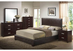PU Leather Queen Bed, Dresser, Mirror & Night Stand