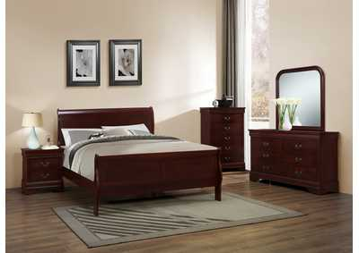 Queen Sleigh Bed, Dresser, Mirror & Chest