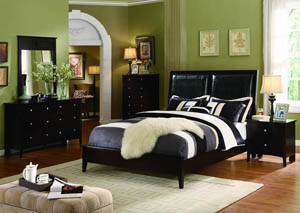 Dark Cherry Low Profile Queen Leather Bed, Dresser, Mirror & Night Stand