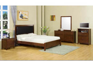 Dirty Oak Low Profile Queen Leather Bed, Dresser, Mirror & Night Stand