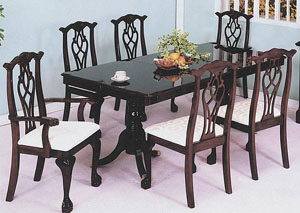 Cherry Chippendale Pedestal Table W/ 18
