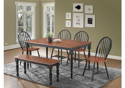 6Pc Black & Cherry Dinette W/ Bench