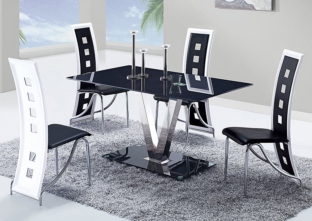 Your Cost Furniture Black Stainless Steel Dining Table & 4