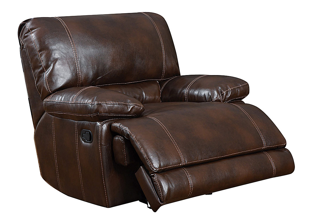Your Cost Furniture Brown Bonded Leather Glider Recliner