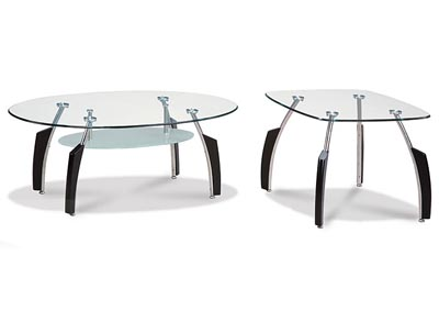 Black & Glass Coffee Table,Global Furniture USA