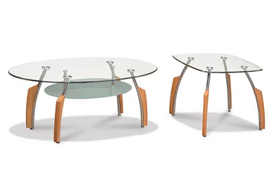 Beech & Glass Coffee Table