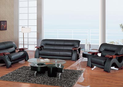 Black Bonded Leather Sofa & Loveseat,Global Furniture USA