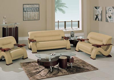 Cappucino Bonded Leather Sofa, Loveseat & Chair