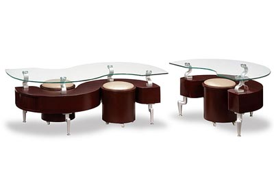 Mahogany & Glass Coffee Table w/ 2 Cappuccino Stools