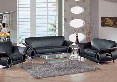 Black Leather Sofa, Loveseat & Chair,Global Furniture USA