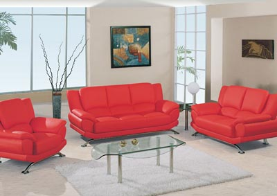Red Leather Sofa, Loveseat & Chair