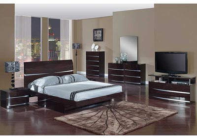 Aurora Wenge Queen Bed, Dresser & Mirror